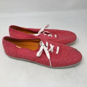 KEDS Champion PINK Eyelet Canvas Sneakers 7.5